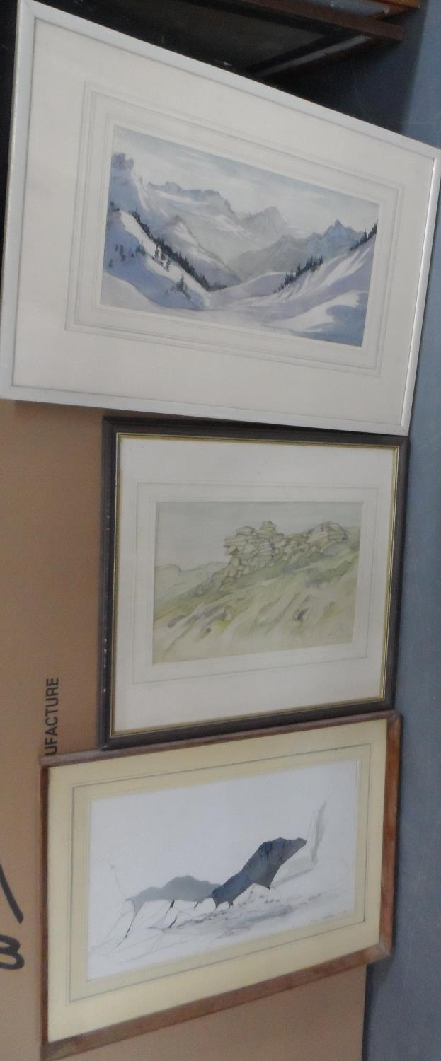 Three, well framed, mid 20thC watercolours all depicting mountains or rock formations, all by