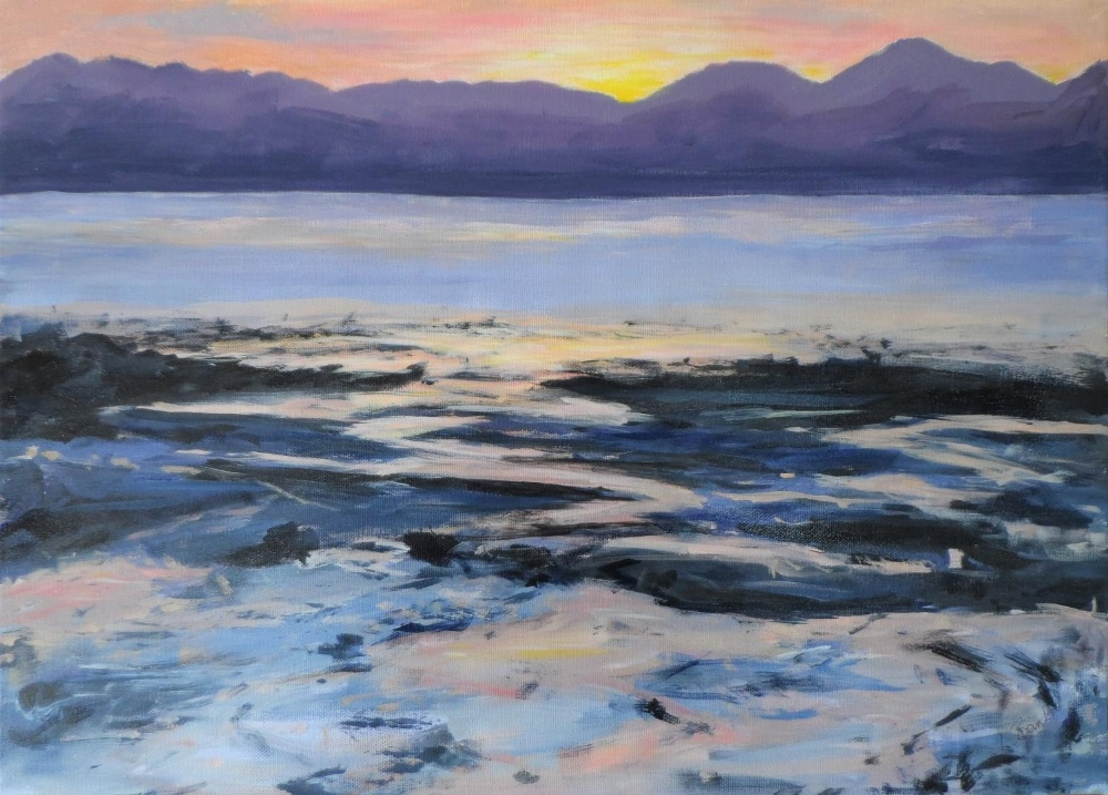 """Indistinctly signed, modernist oil on canvas, """"Red sunset over beach & sea"""", unframed, 41 x 56 cm"""