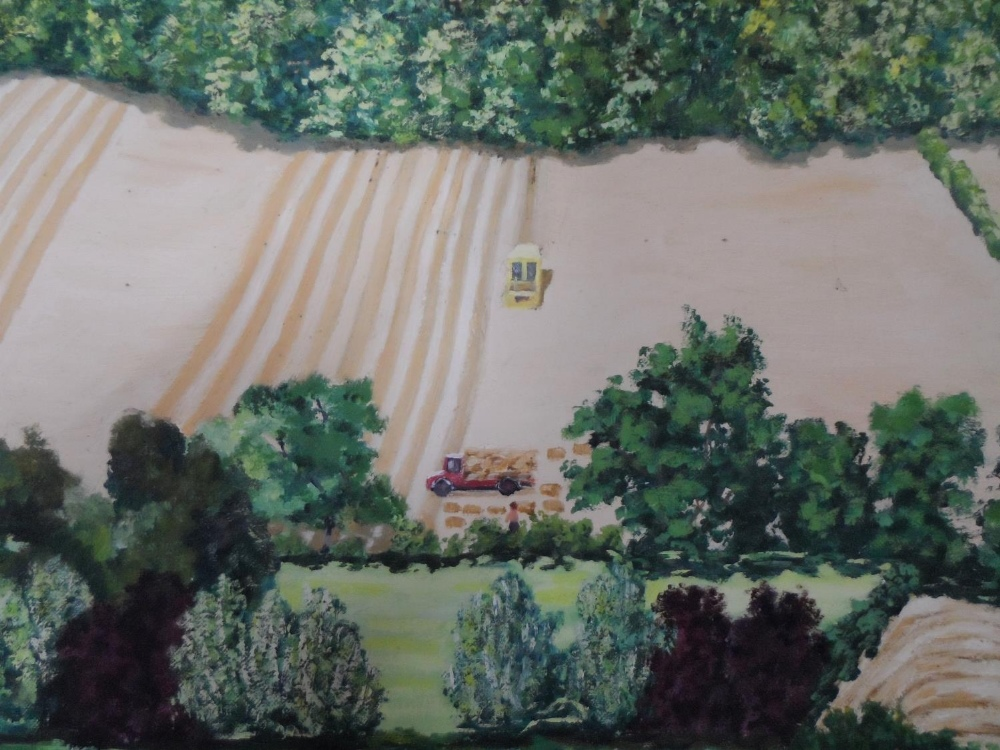 """Large, Gerry B Gibbs 1973 post-impressionist oil on canvas, """"Extensive countryside landscape"""", - Image 3 of 5"""
