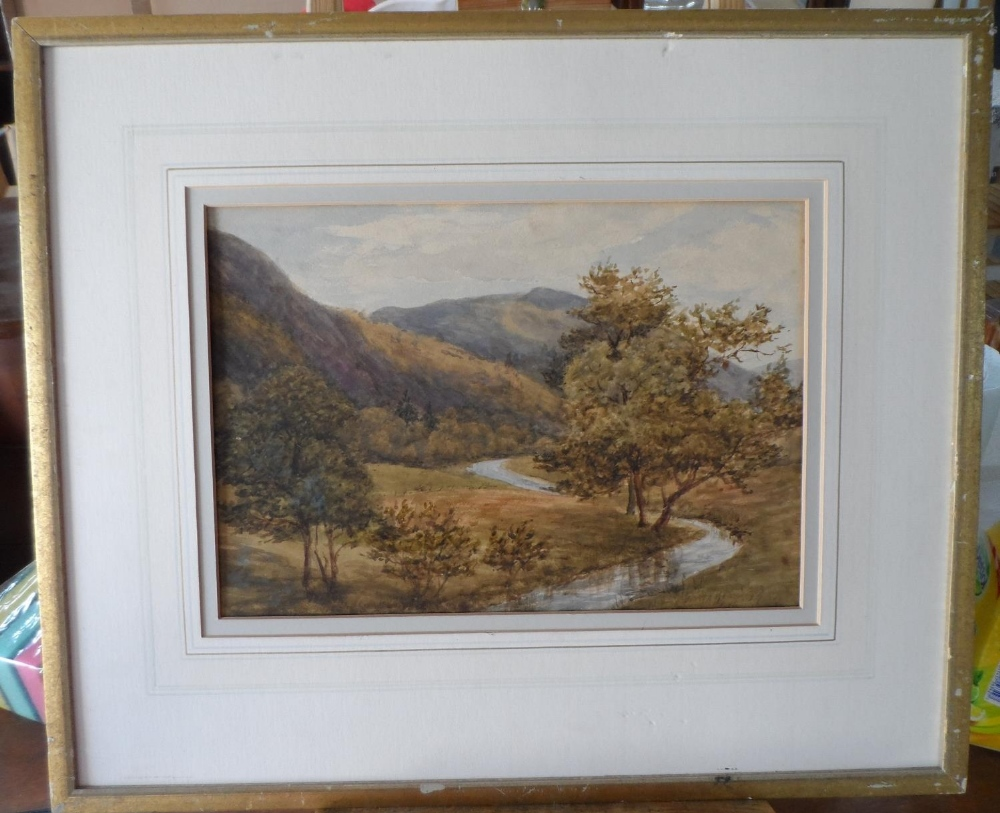 "Attributed to Josiah Clinton JONES (1848-1936) watercolour ""Country river scene"", label verso, - Image 2 of 6"