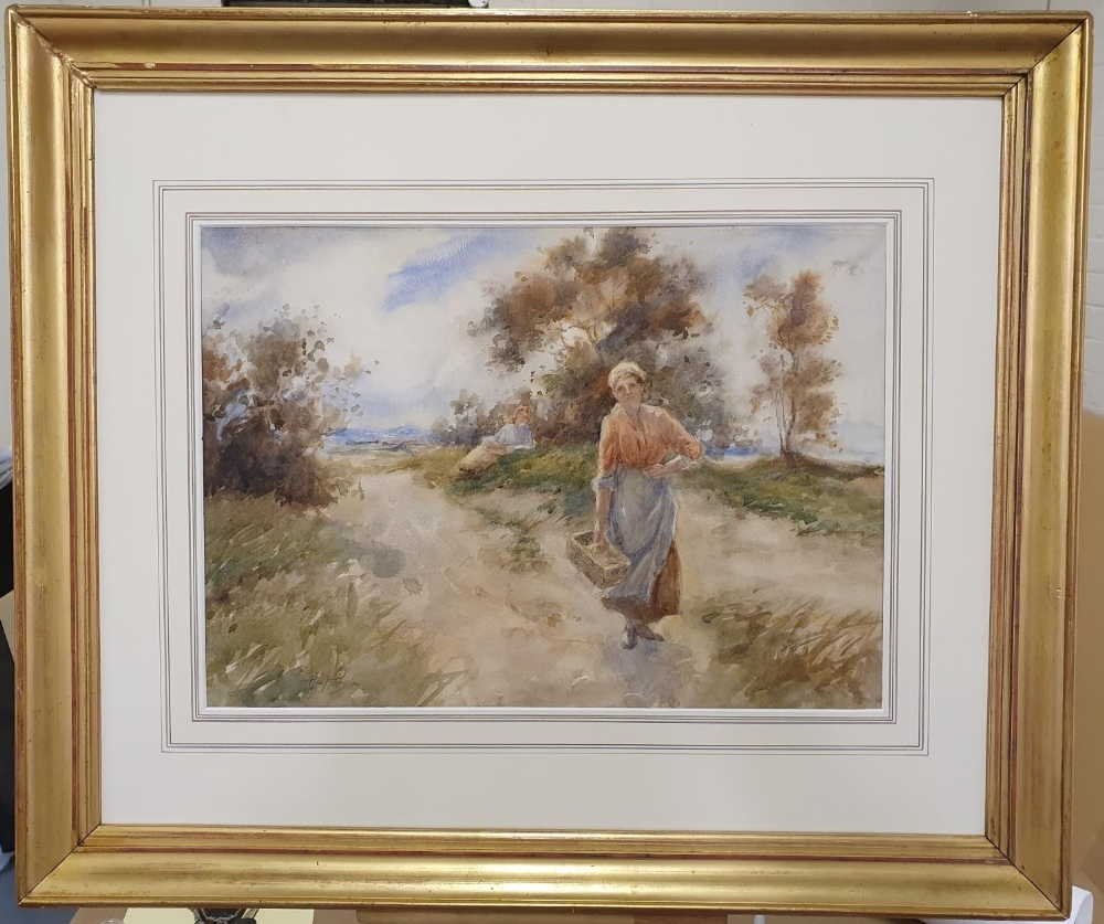 """Thomas PATERSON (Scottish 19th/20thC) impressionist watercolour """"Peasant lady on country road"""","""