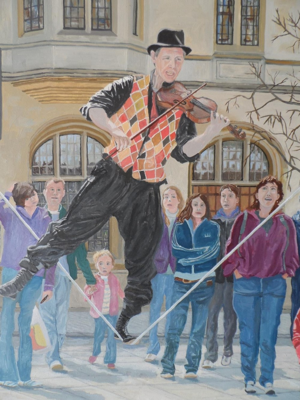 """Large Gerry Gibbs 2007 oil on board, """"The entertainer"""", unframed, signed and dated, 61 x 71 cm - Image 4 of 6"""