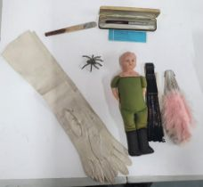 Small collection of antiques to include a doll, ladies leather glovers, a glove stretcher, metal
