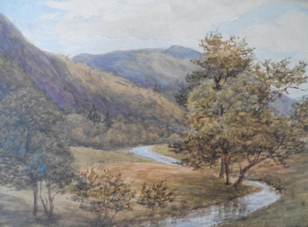 "Attributed to Josiah Clinton JONES (1848-1936) watercolour ""Country river scene"", label verso,"