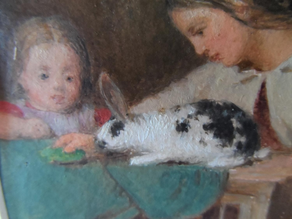 """Unsigned small Victorian oil on paper, """"Feeding the rabbit"""", mounted but unframed, The oil - Image 4 of 7"""