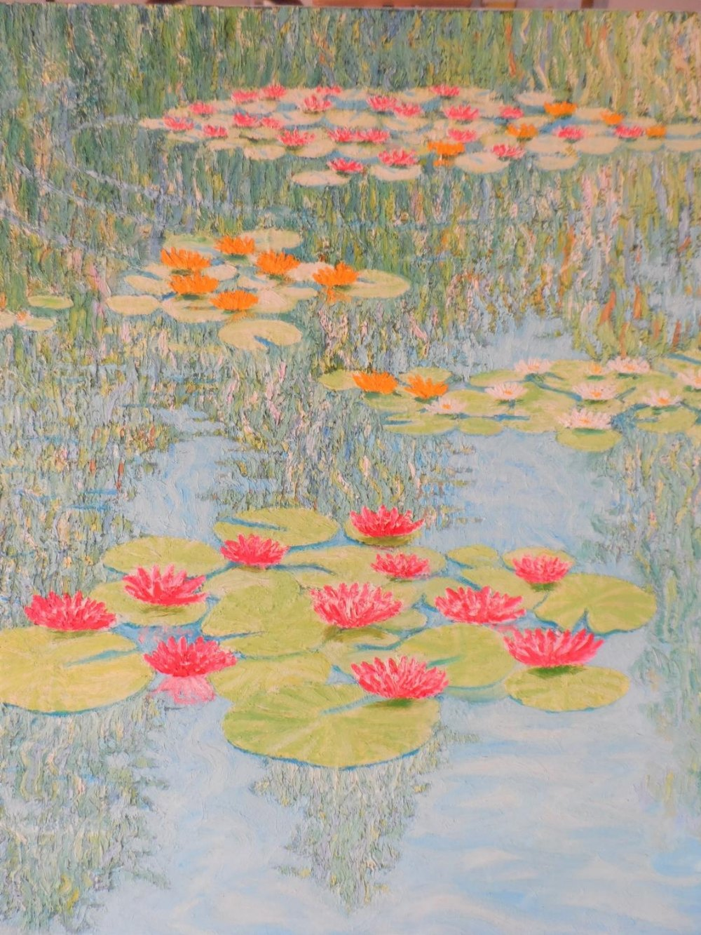 """Large Gerry Gibbs 1976 impressionist oil on canvas, """"Water-lilies"""", unframed, signed and dated, 51 x - Image 3 of 7"""