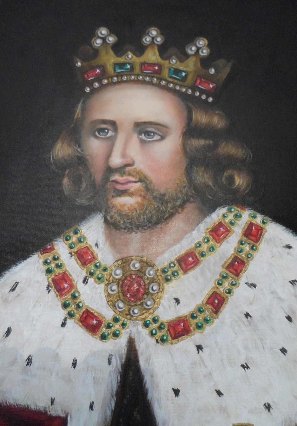 Superb quality, large 20th/21st oil on board, portrait of King Henry in full coronation regalia with - Image 2 of 8