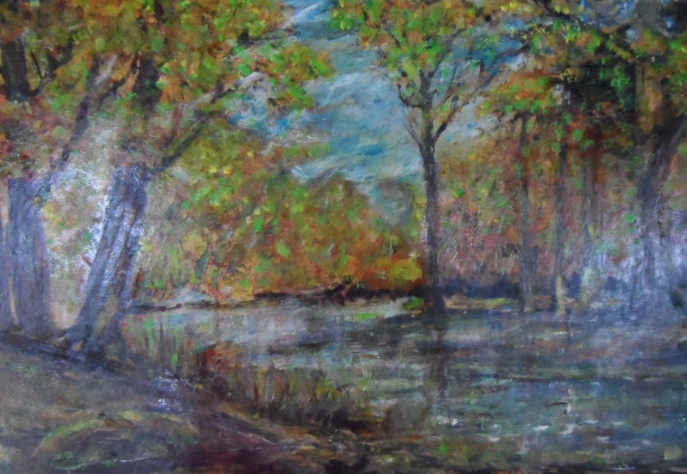 """Large unsigned impressionist oil on board, """"Wooded river landscape"""", thin molded frame, The oil - Image 2 of 5"""