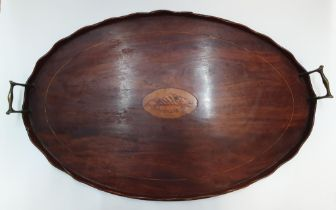Large antique oval wooden in-laid tray 47 x 70 cm