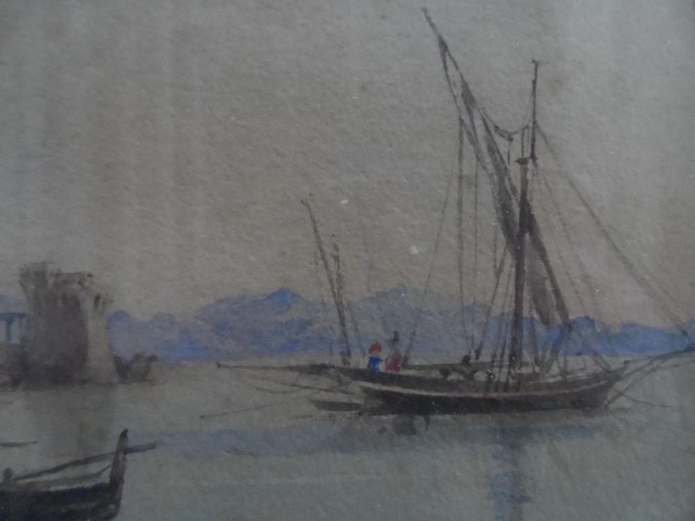 """Unsigned, early/mid 19thC watercolour """"Beached fishing boats"""", framed and glazed, The w/c measures - Image 4 of 4"""