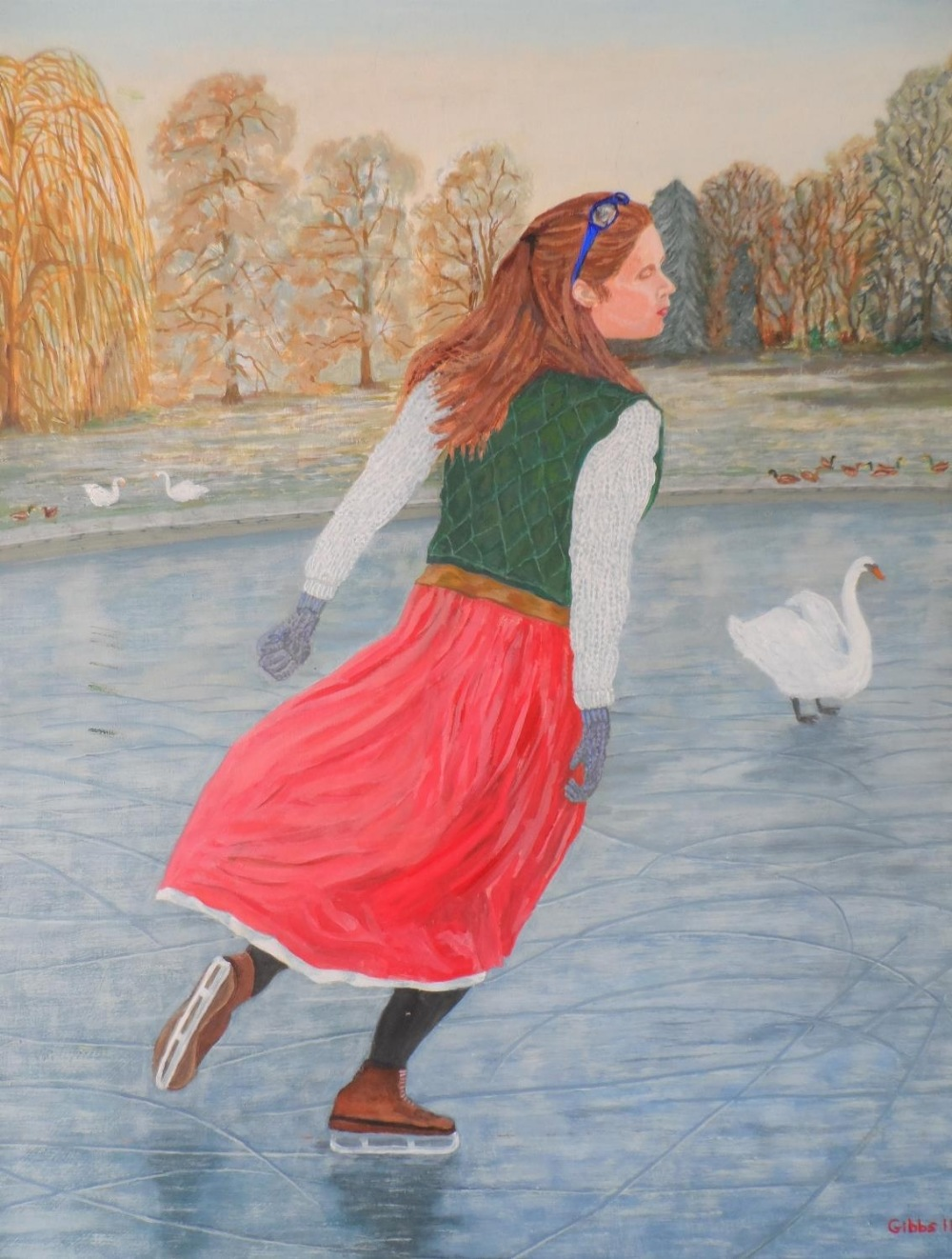 """Gerry Gibbs 2011 oil on board, """"The lone skater"""", wood framed, signed and dated, The oil measures 58"""