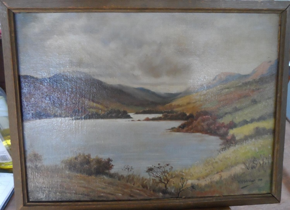 """W H Hutchings 1938 oil on board, """"Highland lake scene"""", signed, thin molded frame, The oil - Image 2 of 6"""