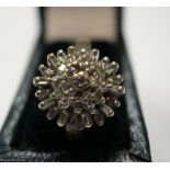 9ct yellow gold, diamond cluster ring Approx 2.4 grams gross, size H