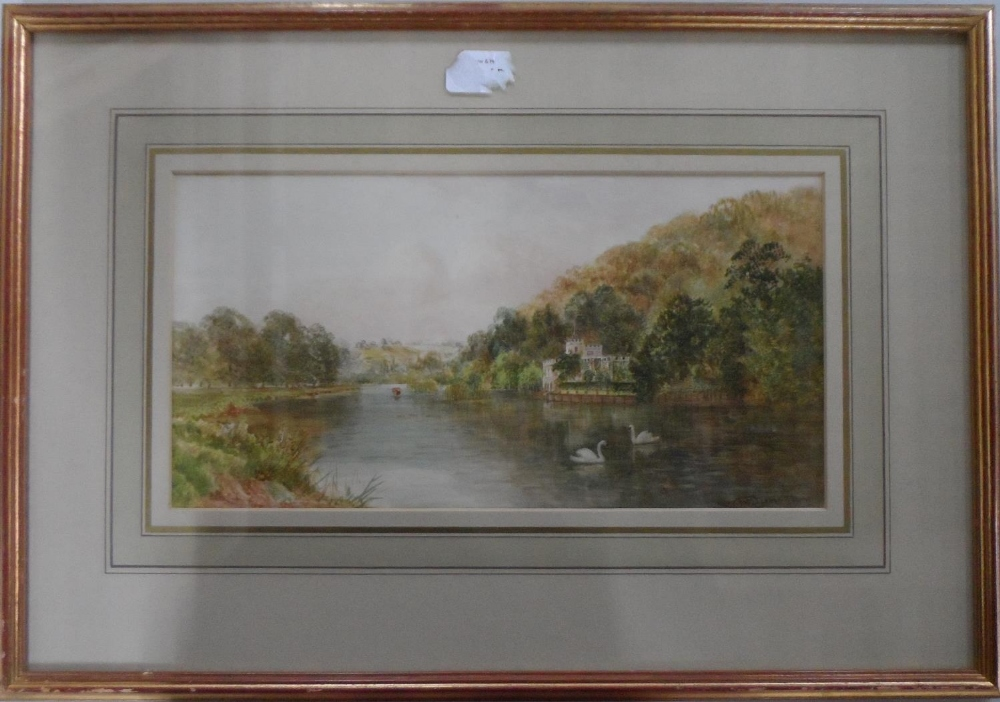"""Walter DUNCAN (1848-1932) watercolour """"Swans on tranquil river"""", signed, gilt framed The w/c"""