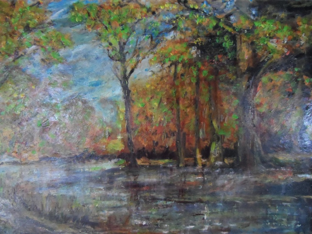 """Large unsigned impressionist oil on board, """"Wooded river landscape"""", thin molded frame, The oil - Image 3 of 5"""
