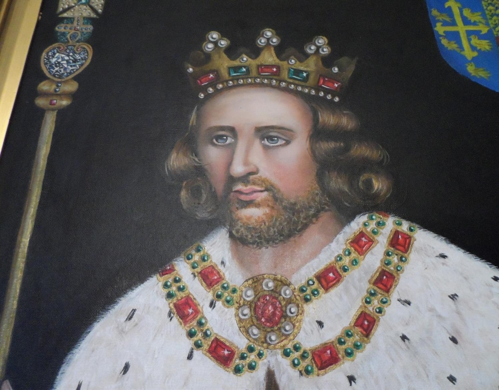 Superb quality, large 20th/21st oil on board, portrait of King Henry in full coronation regalia with - Image 5 of 8