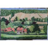 """Large, Gerry B Gibbs 1973 post-impressionist oil on canvas, """"Extensive countryside landscape"""","""