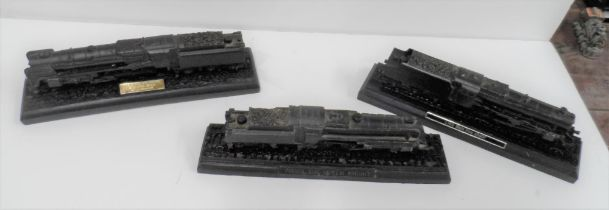 """Three models of steam trains made from British coal, to include Green Knight, the """"Evening Star"""""""