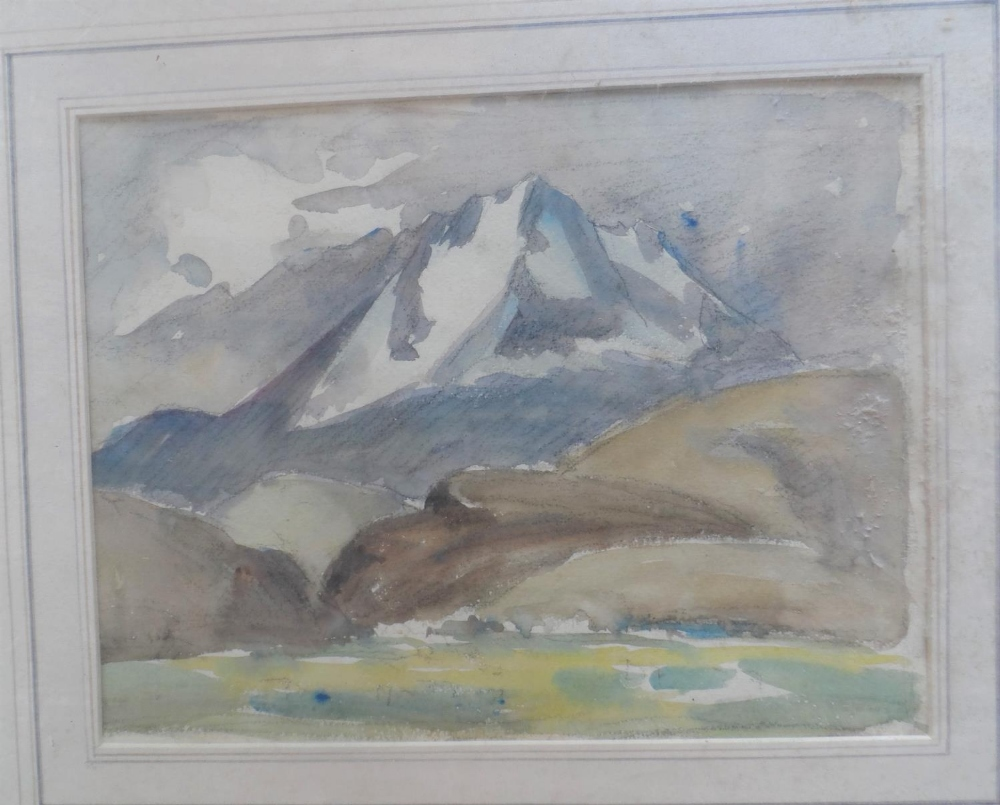 Six Alpine scene watercolours and drawing, all by differing artists, all framed (6) - Image 5 of 6