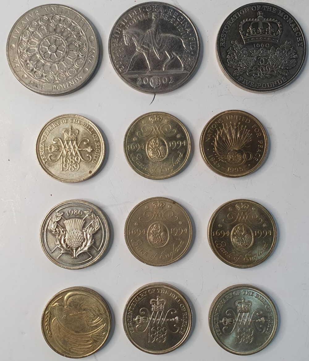 Collection of 3 x £5 coins together with a collection of 9, early £2 coins to include some rare - Image 2 of 2