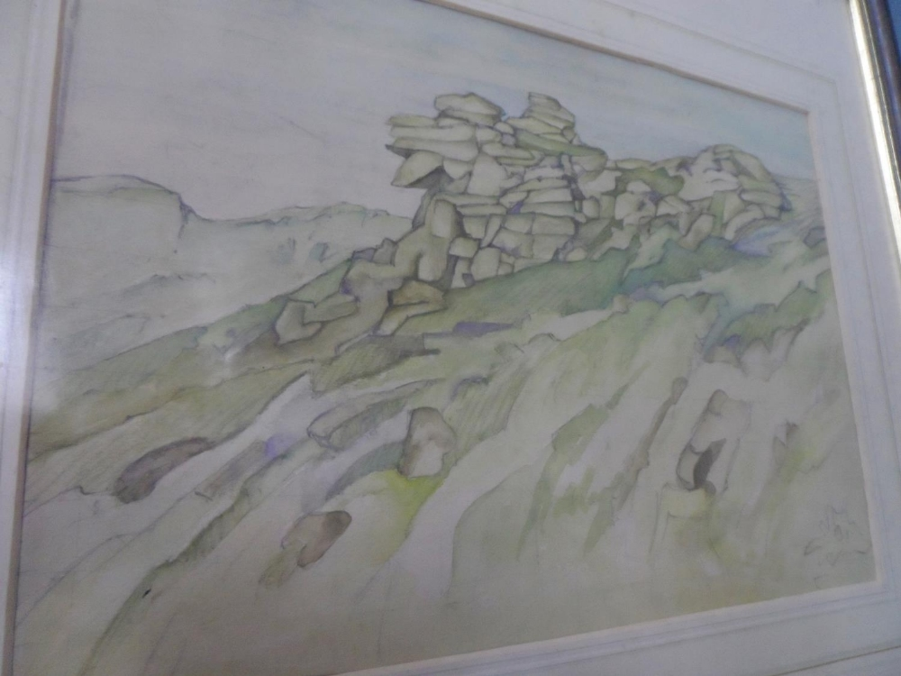 Three, well framed, mid 20thC watercolours all depicting mountains or rock formations, all by - Image 3 of 4