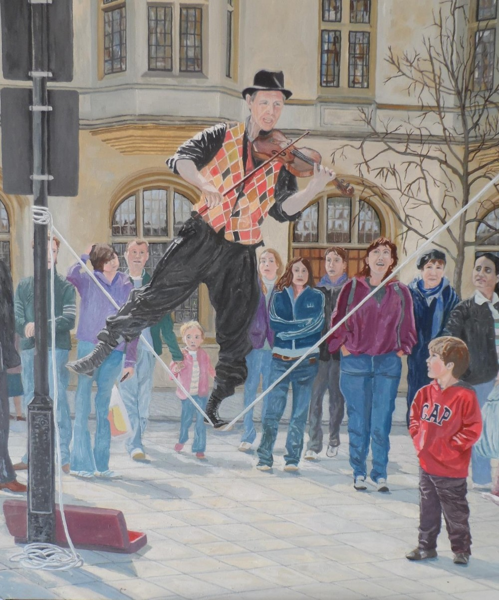 """Large Gerry Gibbs 2007 oil on board, """"The entertainer"""", unframed, signed and dated, 61 x 71 cm - Image 2 of 6"""