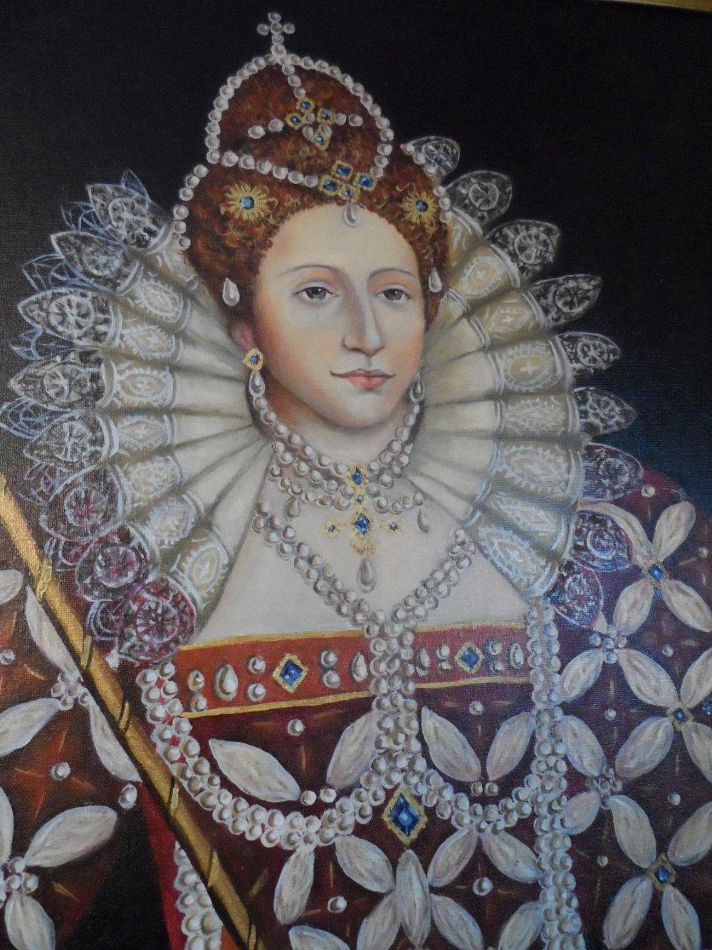 Large modern oil on board, portrait of Queen Elizabeth I in full pearl regalia, indistinctly - Image 4 of 6