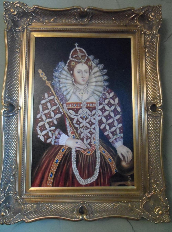 Large modern oil on board, portrait of Queen Elizabeth I in full pearl regalia, indistinctly - Image 2 of 6
