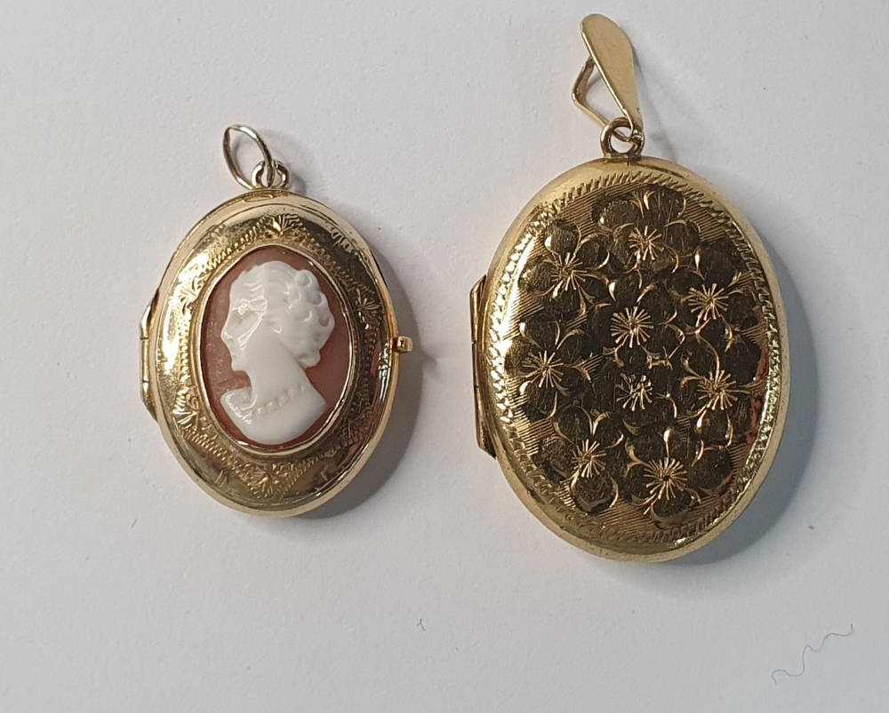 Two antique lockets, one with a cameo which is 9ct gold B&F together with a rolled gold example (2)