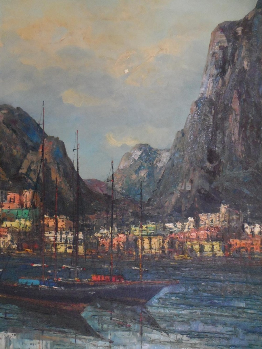 """Large impressionist, 1960s/70s oil on canvas, """"Boats of Mediterranean coast"""" signed CARTIER, framed,"""