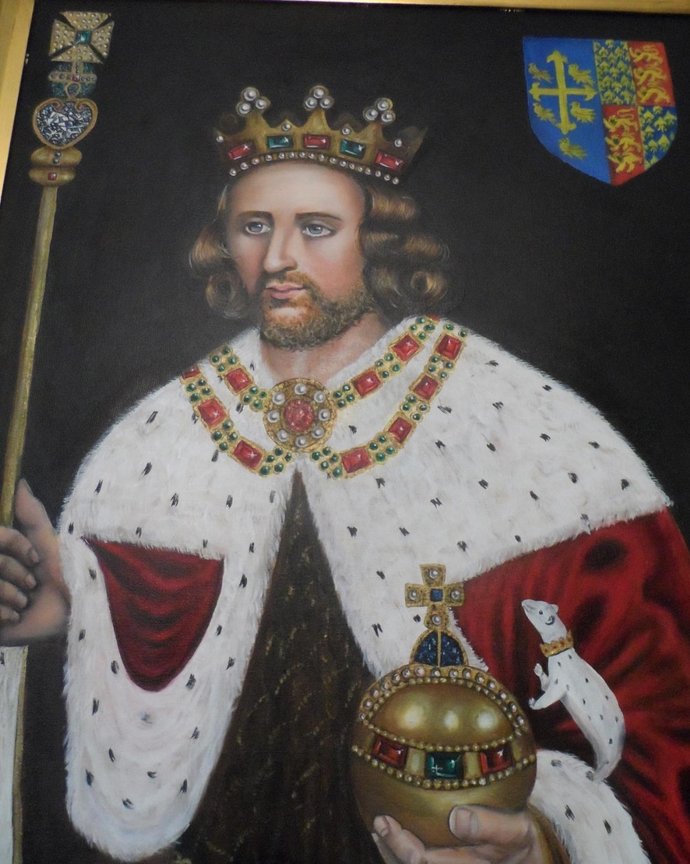 Superb quality, large 20th/21st oil on board, portrait of King Henry in full coronation regalia with - Image 3 of 8