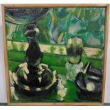 Bob Evans oil on canvas, impressionist still-life in green, thin wood surround, 30 x 30 cm