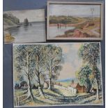 Three antique watercolours by differing hands, one framed (3)