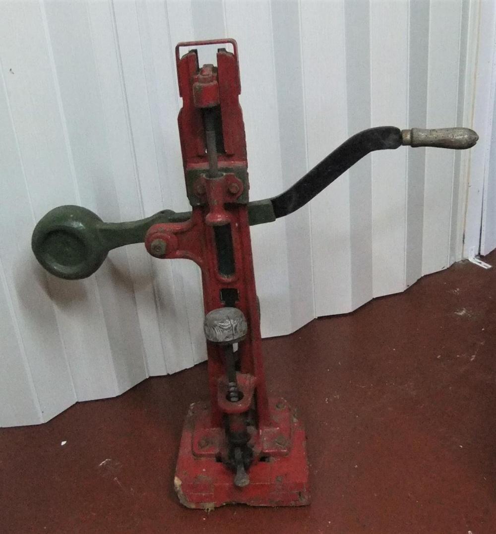 Antique adjustable cast iron bottle corker by J V Ruben & co 95cm high