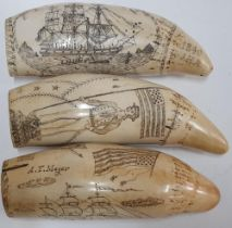 Collection of 3 replica resin small scrimshaws, all approx 16 cm long (3)