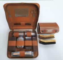 Mid 20thC cased Gents grooming travel kit and shoe-shine kit - complete