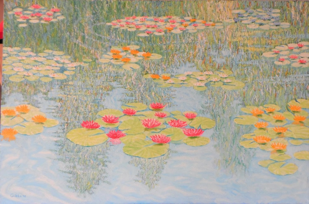 """Large Gerry Gibbs 1976 impressionist oil on canvas, """"Water-lilies"""", unframed, signed and dated, 51 x - Image 2 of 7"""