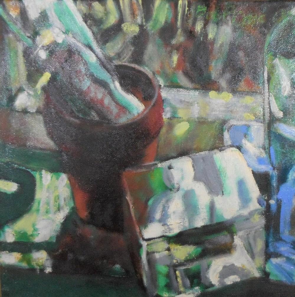 Bob Evans modernist oil on canvas, still-life with plant pot, signed, wood surround, 30 x 30 cm