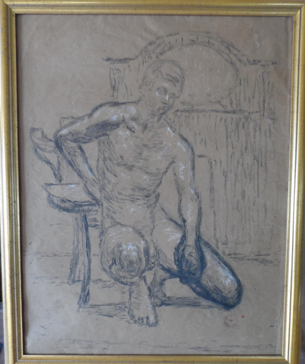 Joseph SMEDLEY (1923-2016) chalks portrait of a young naked boy, studio stamped & molded frame, - Image 2 of 4