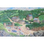 """Large Gerry Gibbs oil on canvas, """"Cornish cottages"""", unframed, signed & dated, 51 x 76 cm"""