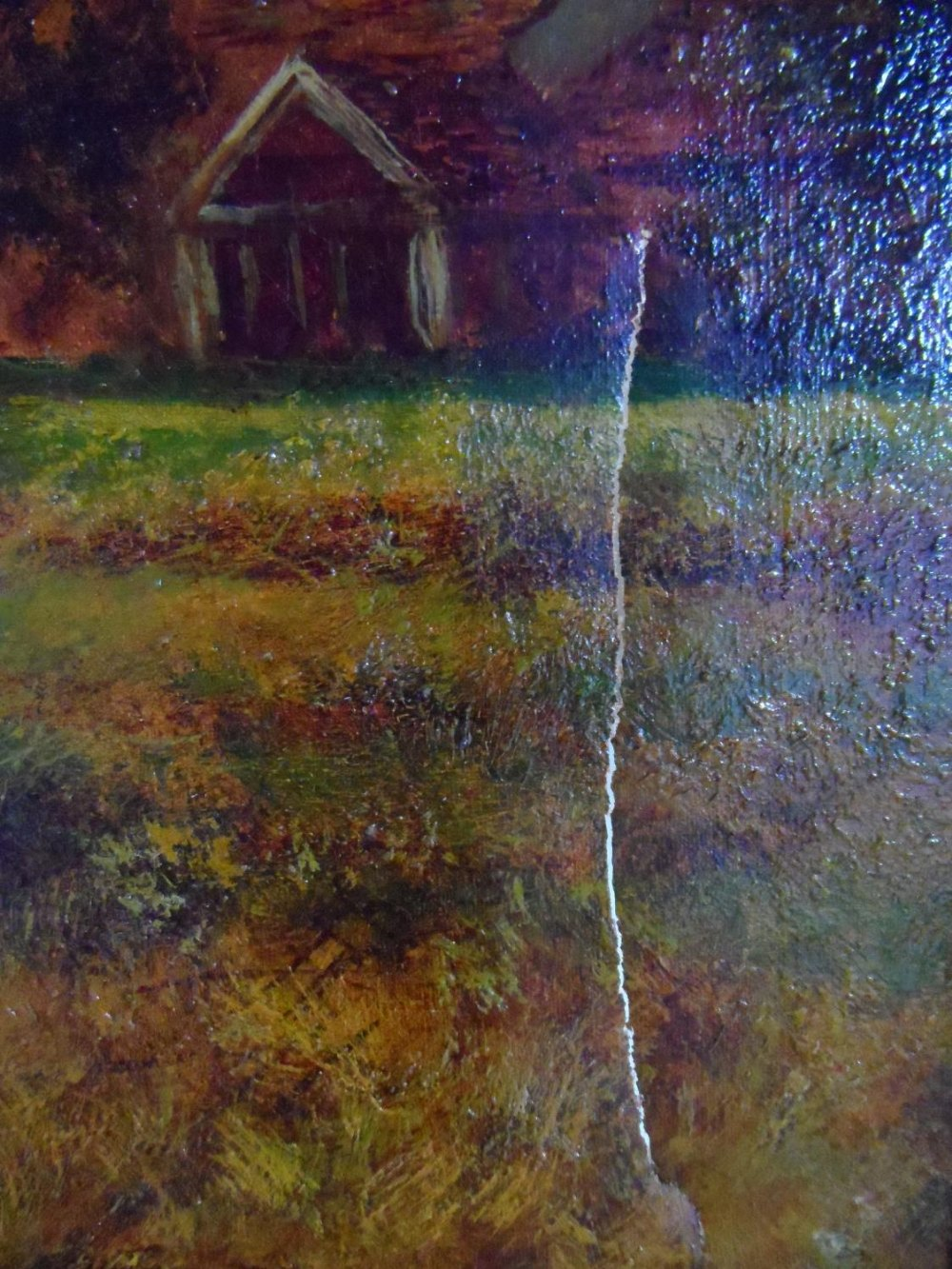 """Large Joel OWEN (act.1891-1931) oil """"Extensive country landscape"""", signed, wood framed, The oil - Image 4 of 6"""