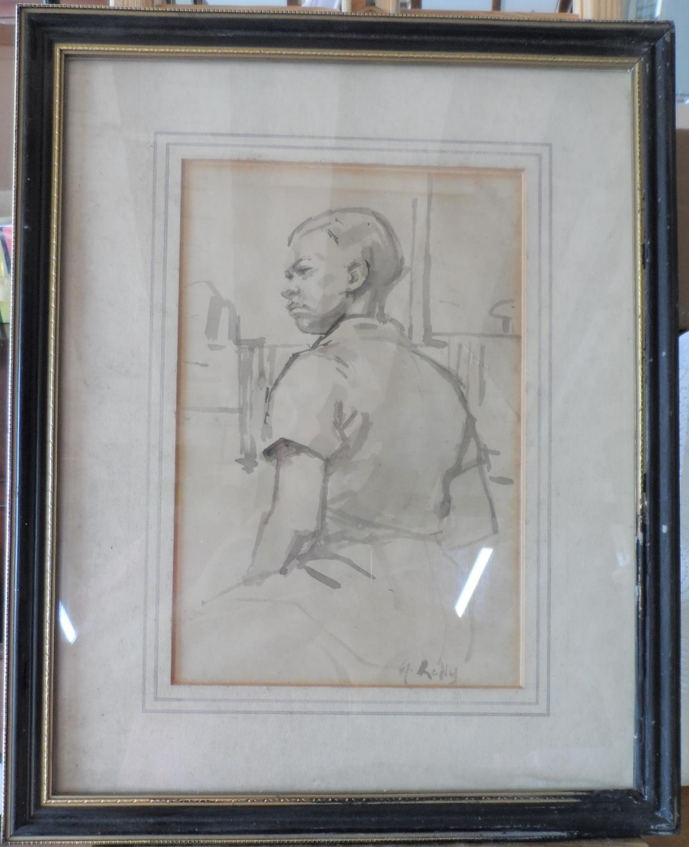 G Kelly grey watercolour wash portrait of a young boy, framed, The w/c measures 25 x 16 cm - Image 2 of 3