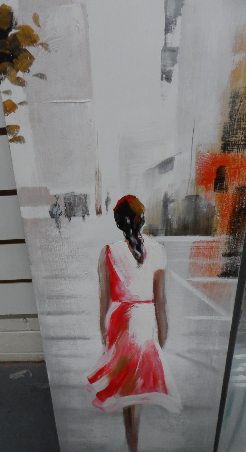 Unsigned 21stC triptych modernist oils depicting 3 ladies in cities, all unframed (3) Each oil - Image 4 of 5