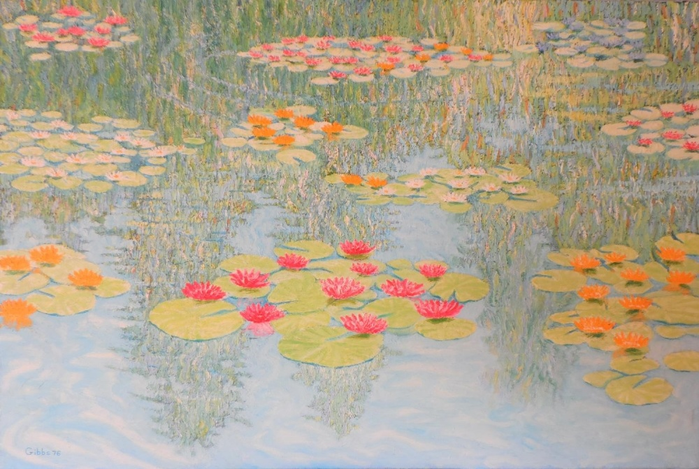 """Large Gerry Gibbs 1976 impressionist oil on canvas, """"Water-lilies"""", unframed, signed and dated, 51 x - Image 7 of 7"""