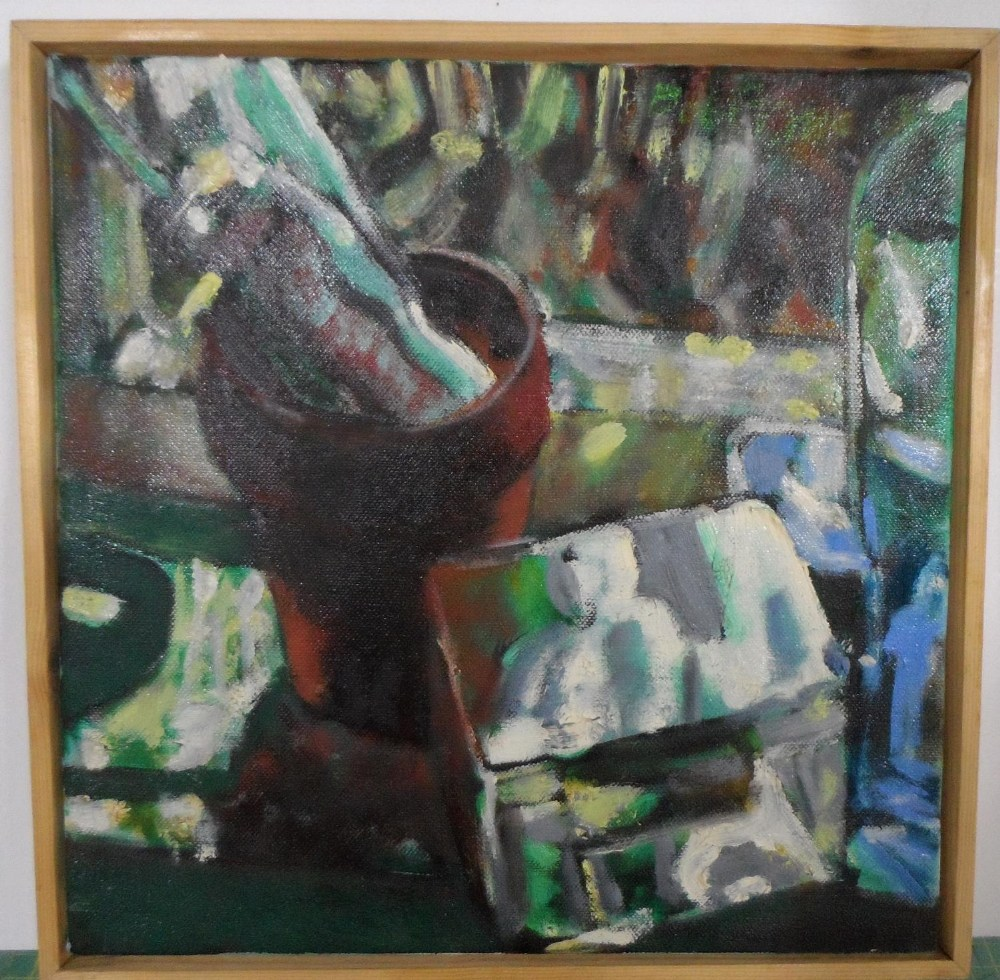 Bob Evans modernist oil on canvas, still-life with plant pot, signed, wood surround, 30 x 30 cm - Image 2 of 4