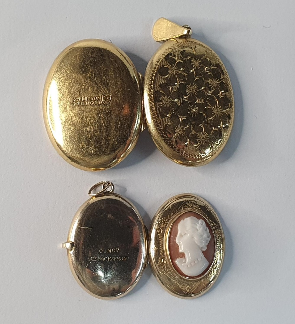 Two antique lockets, one with a cameo which is 9ct gold B&F together with a rolled gold example (2) - Image 3 of 3
