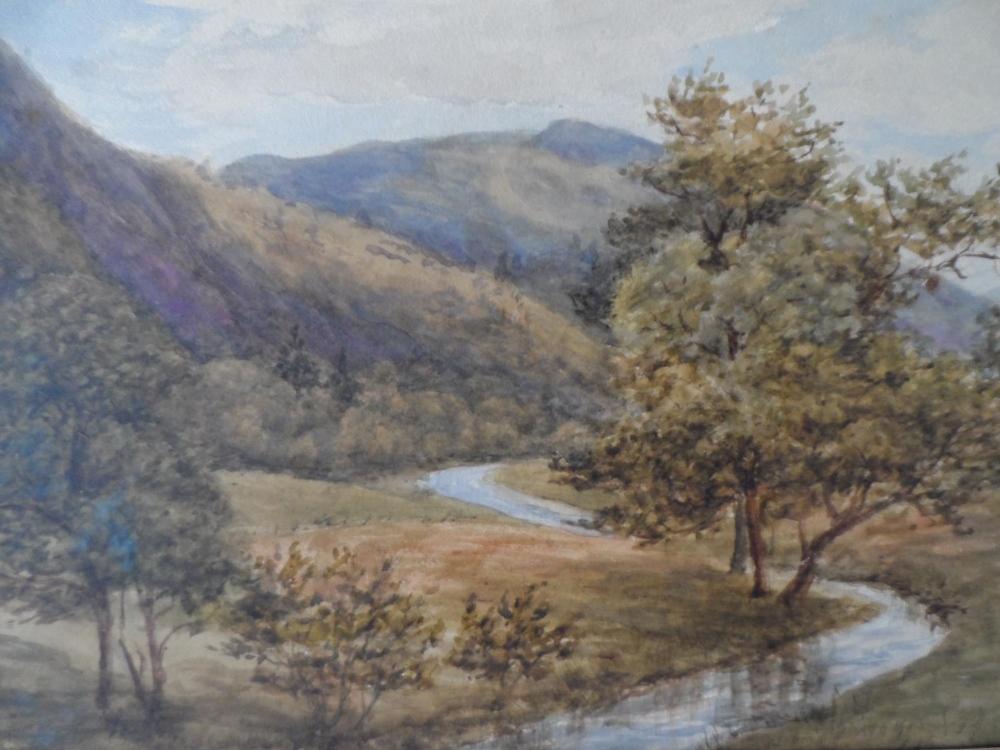 "Attributed to Josiah Clinton JONES (1848-1936) watercolour ""Country river scene"", label verso, - Image 3 of 6"