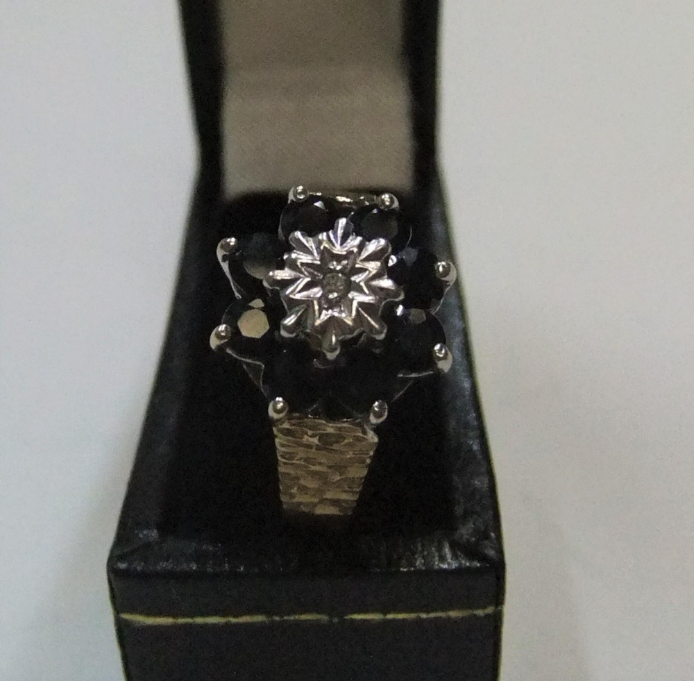 9ct yellow gold sapphire cluster ring Approx 2.6 grams gross, size P