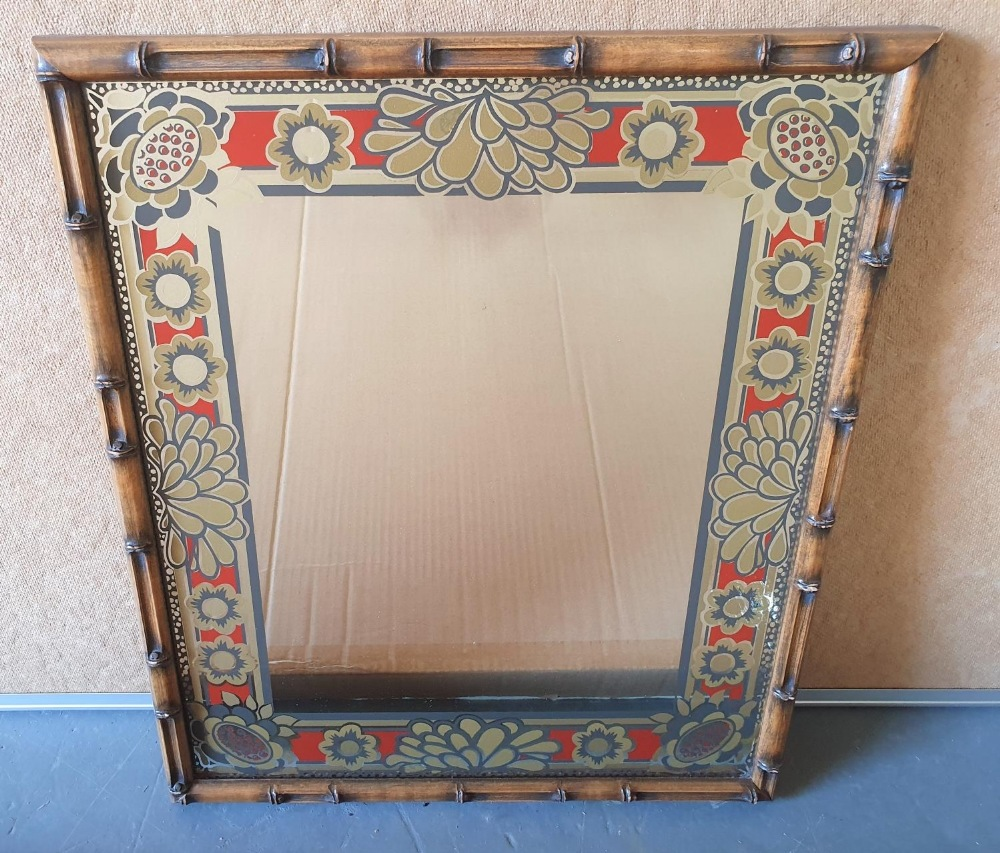 Retro 1970s ornate mirror with faux bamboo frame, 43 x 36 cm