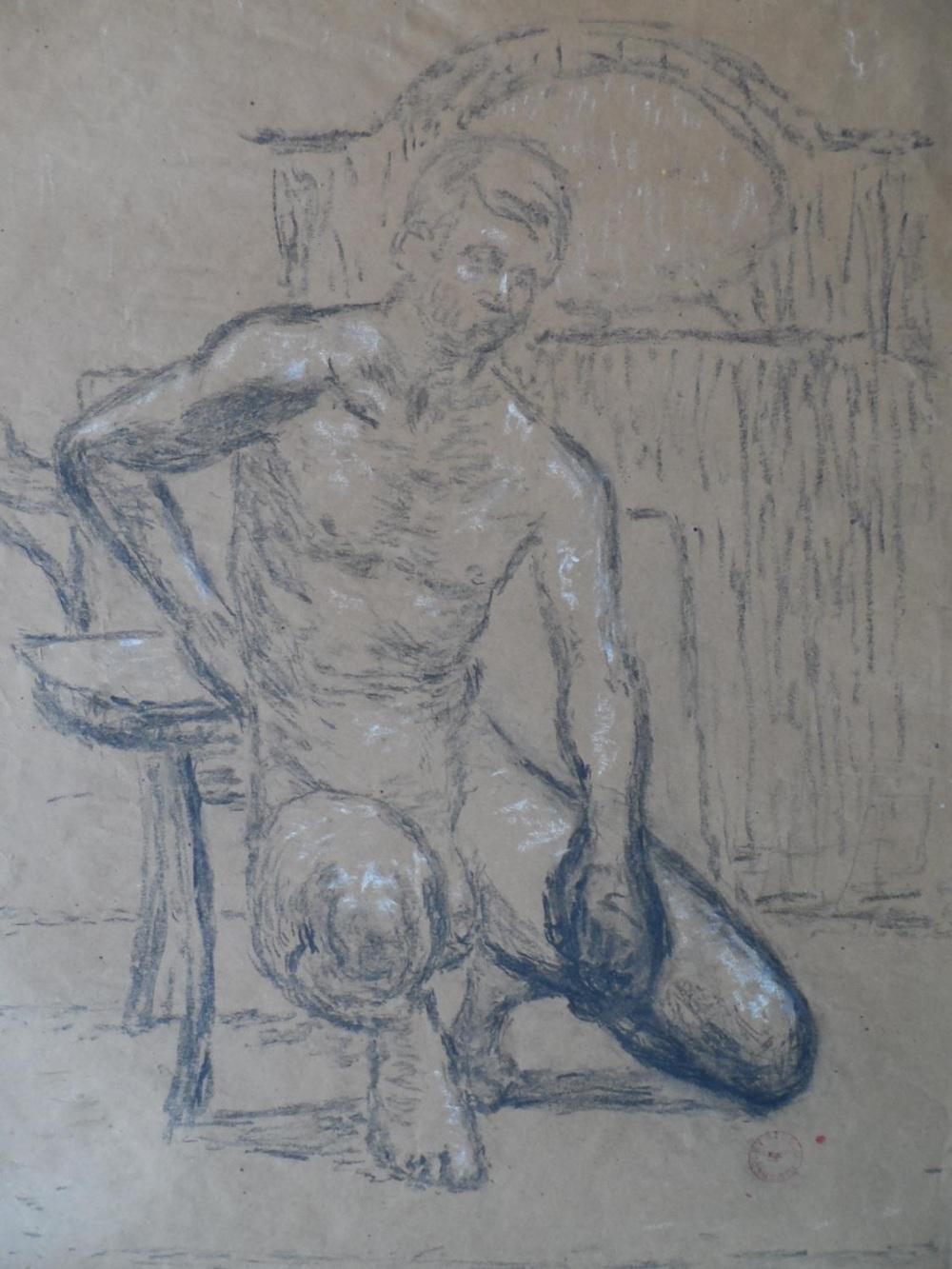 Joseph SMEDLEY (1923-2016) chalks portrait of a young naked boy, studio stamped & molded frame,